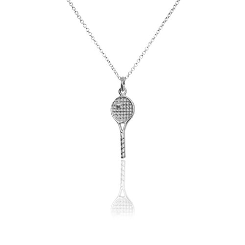 The best sterling silver 925 tennis racquet racquetball pendant the best sterling silver 925 tennis racquet racquetball pendant necklace aloadofball Images
